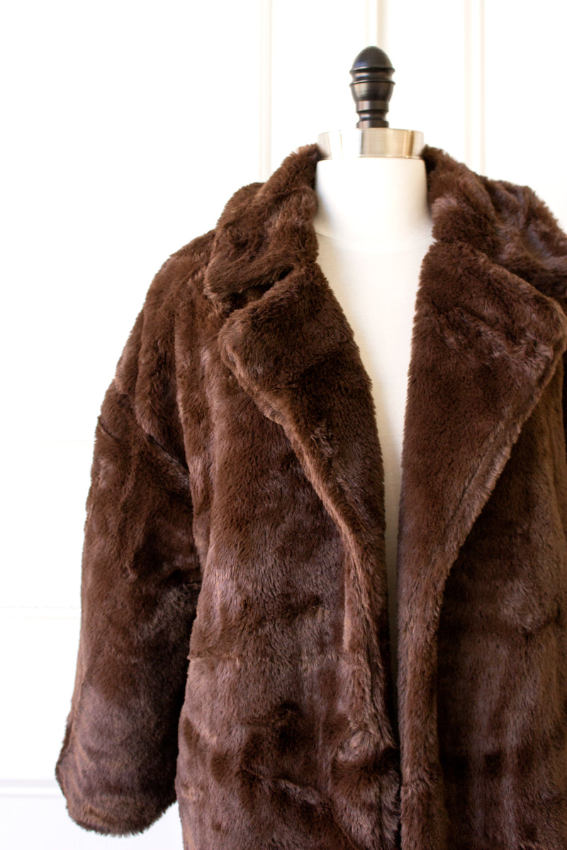 Elysee Faux Fur Jacket - chocolate