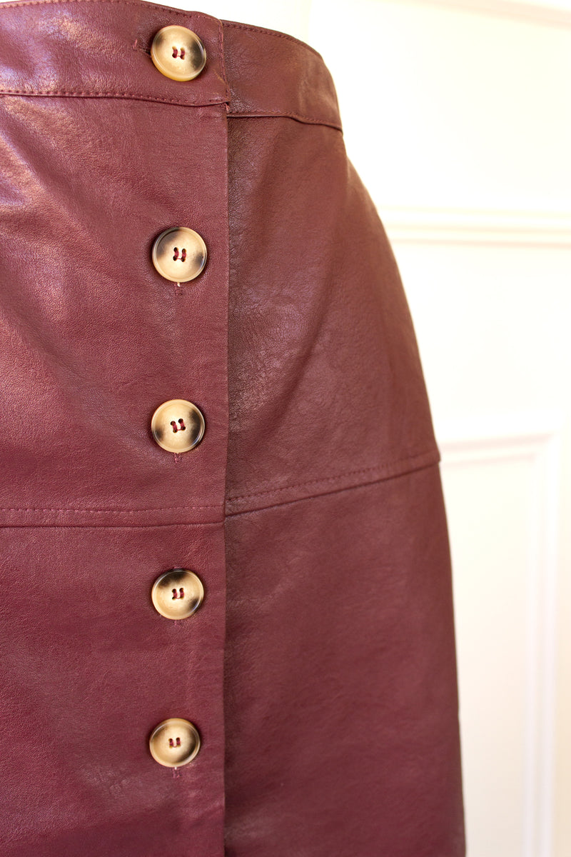 button down faux leather skirt