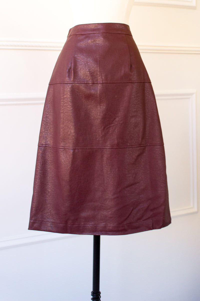 fall style featuring burgundy vegan leather a-line skirt