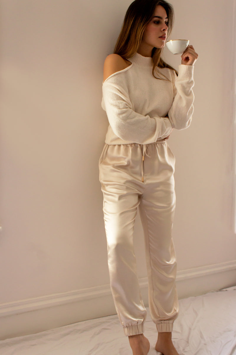Perle Satin Jogger Pants