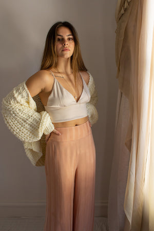 Satin Crop Top Bralette shown with High Waisted Pants