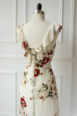 open back floral print dress with ruffles