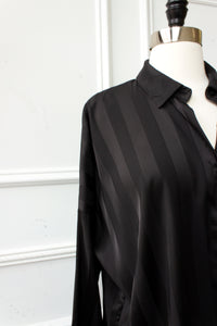 Genevieve Striped Satin Shirt - black