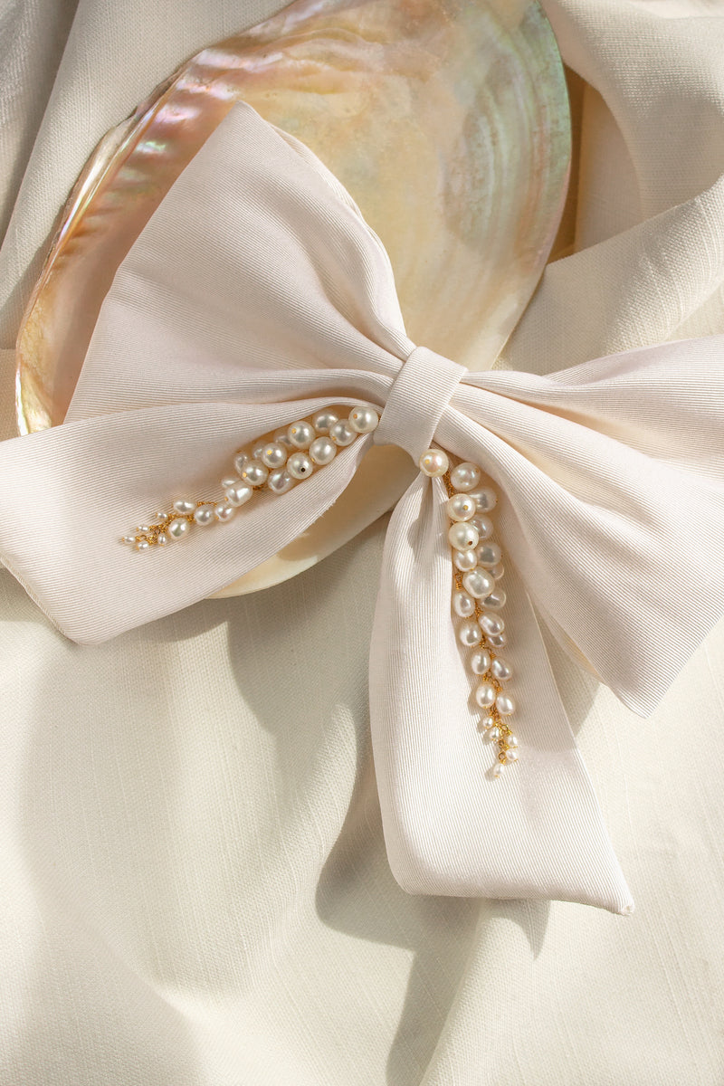 Ivory Silk and Pearl Bow Hair Clip by Christine Elizabeth Jewelry