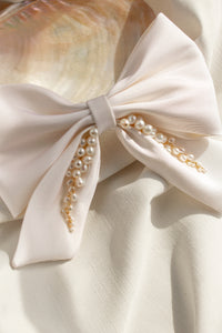 Silk and Pearl Bow Bridal Hair Accessory