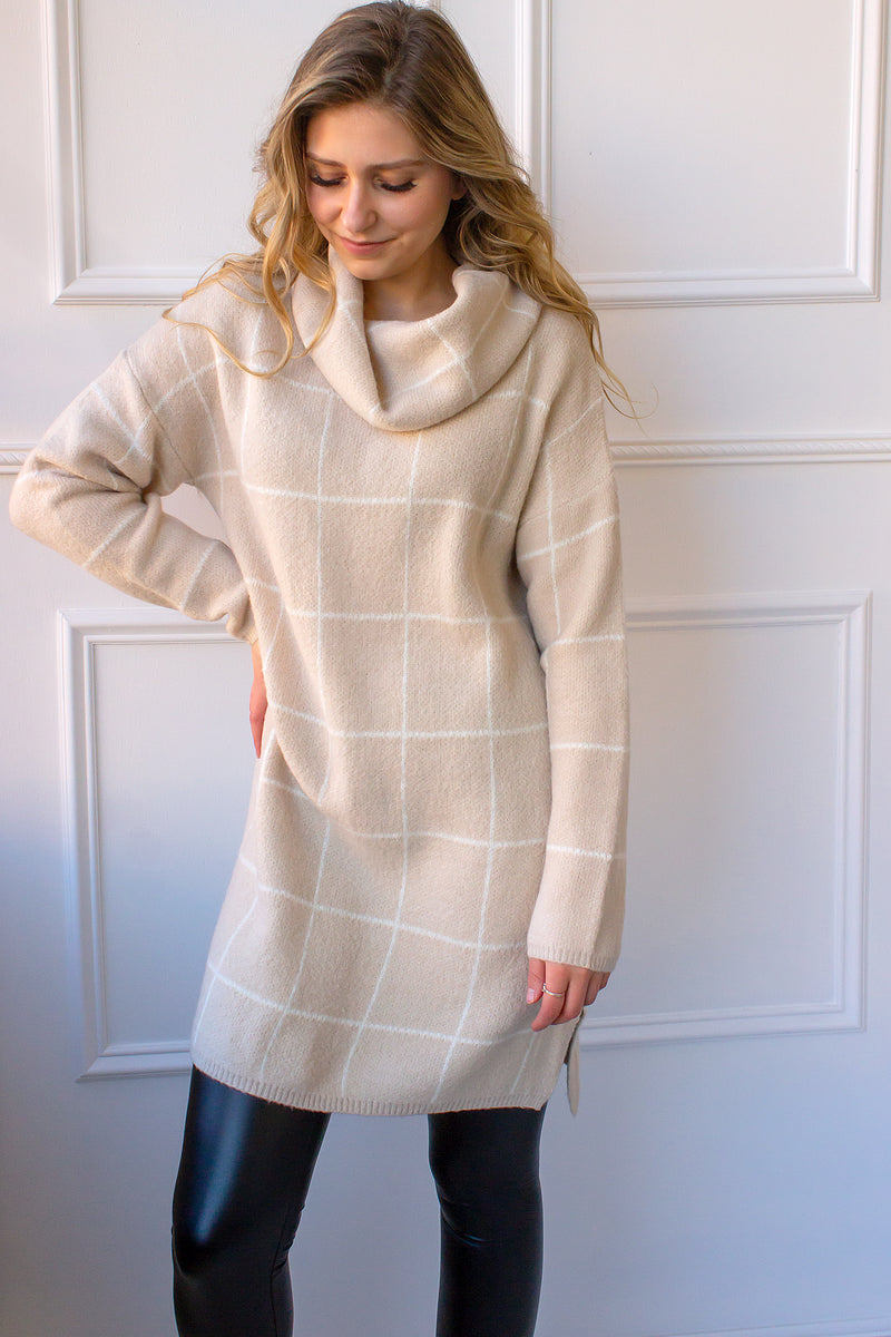 Edie Grid Print Sweater Dress - light beige