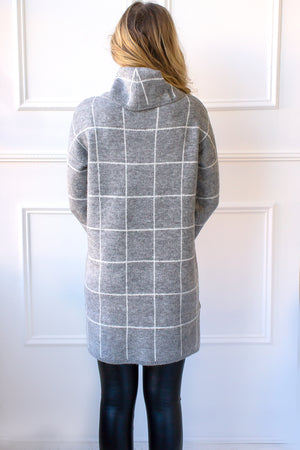 Edie Grid Print Sweater Dress - grey