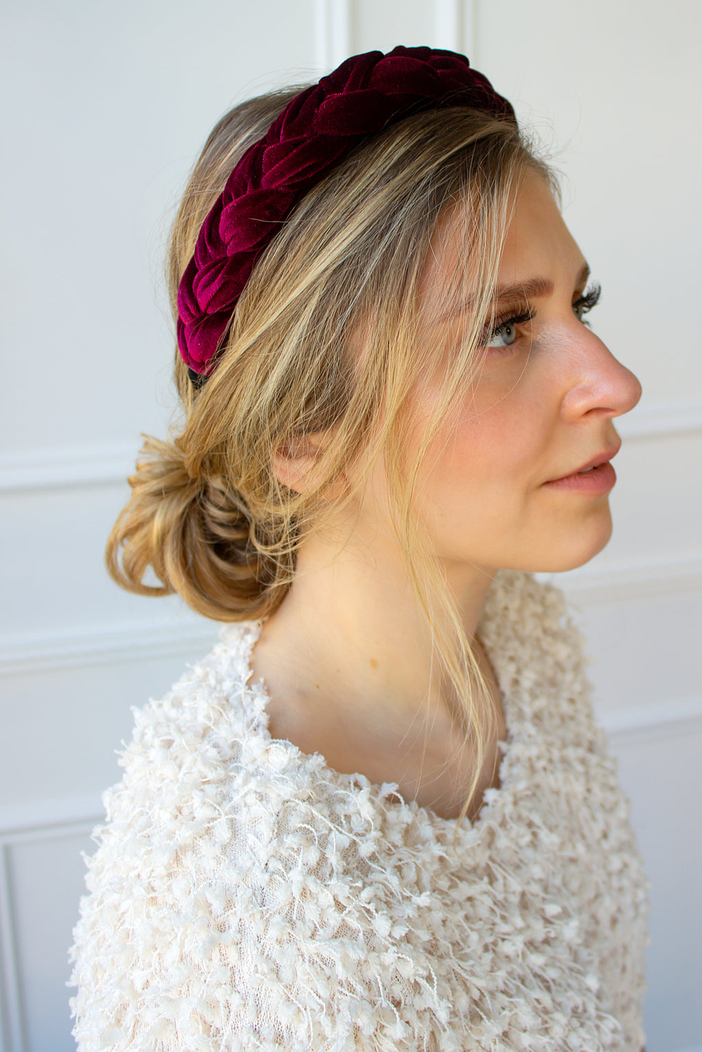 Braided Velvet Headband - cranberry