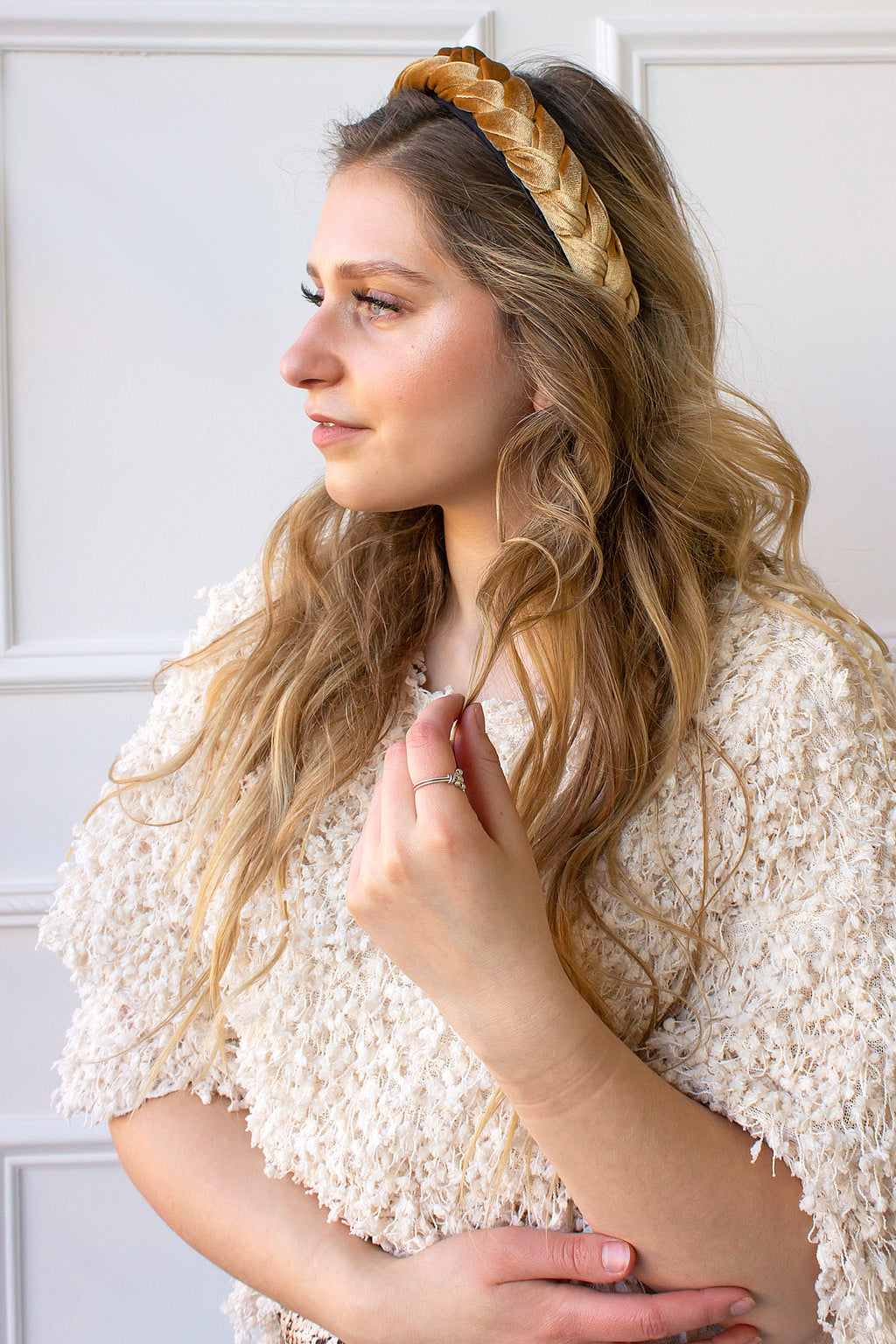 Braided Velvet Headband - golden