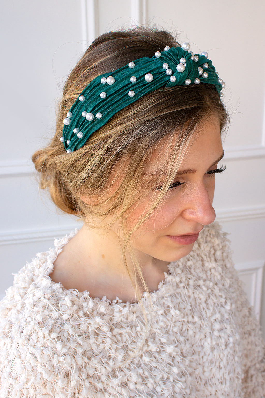 Pearl Twist Knot Headband - emerald