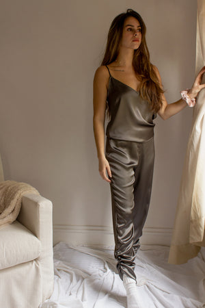 Mila Satin Ruched Joggers