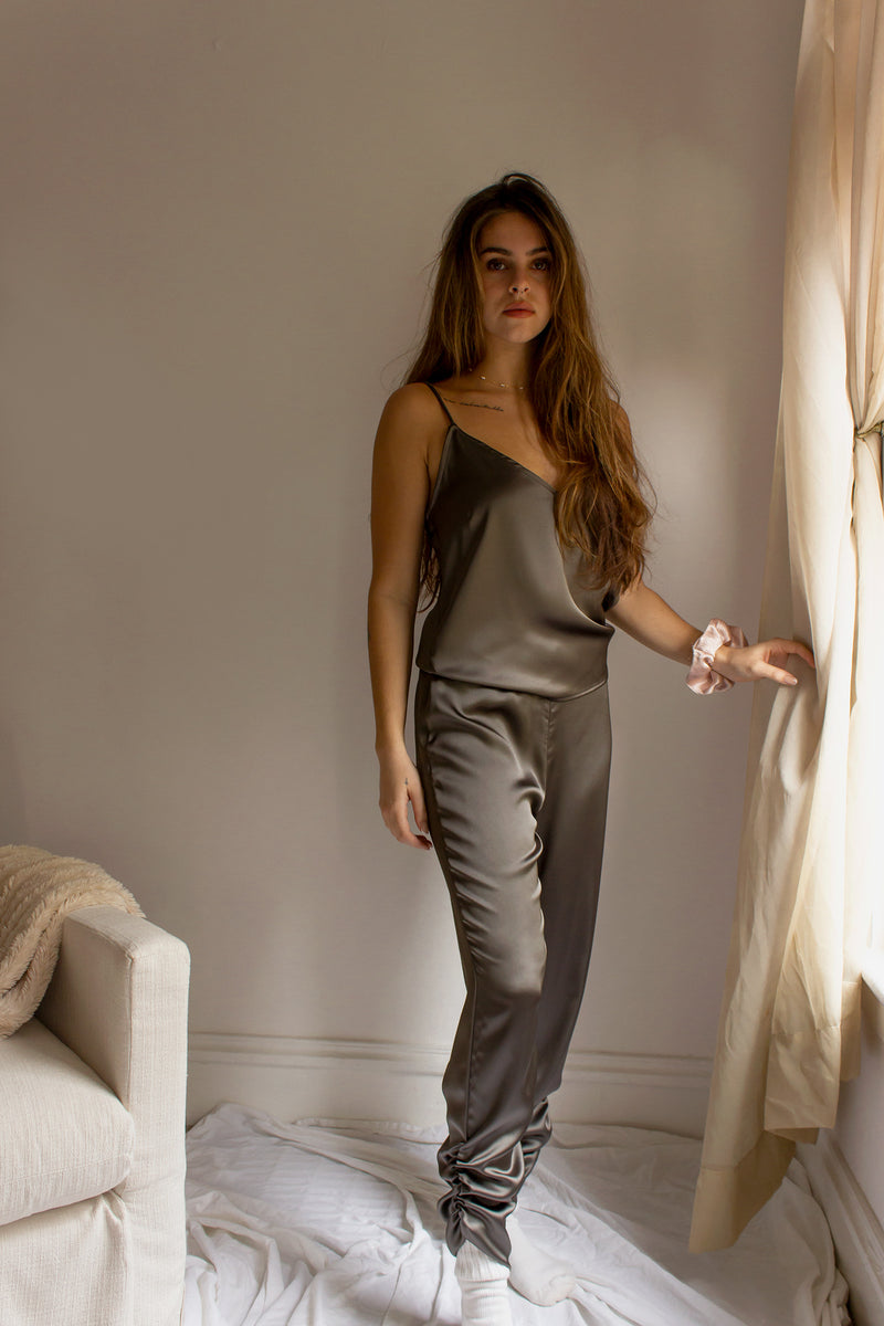 satin joggers with elastic waist and matching cami