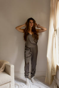 A casual chic matching set in olive satin silk