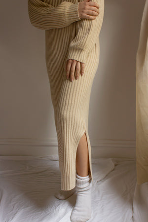 ribbed knit dress with side slit