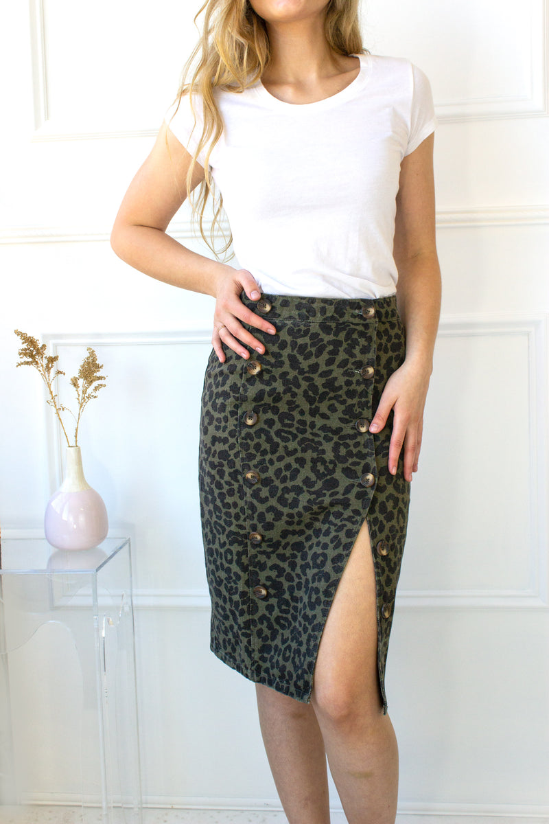 Button Down Leopard Skirt - olive