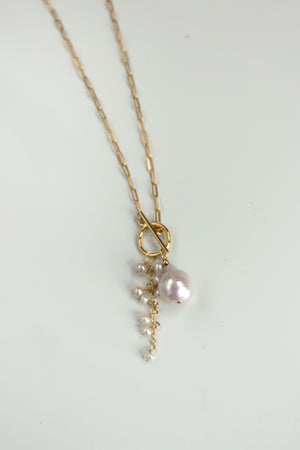 Opalescent Pearl Cluster Toggle Necklace - Christine Elizabeth Jewelry