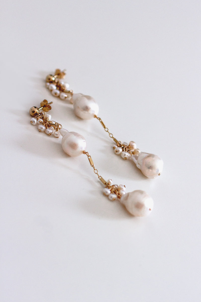 Lumiere Double Baroque Freshwater Pearl Earrings - Christine Elizabeth Jewelry