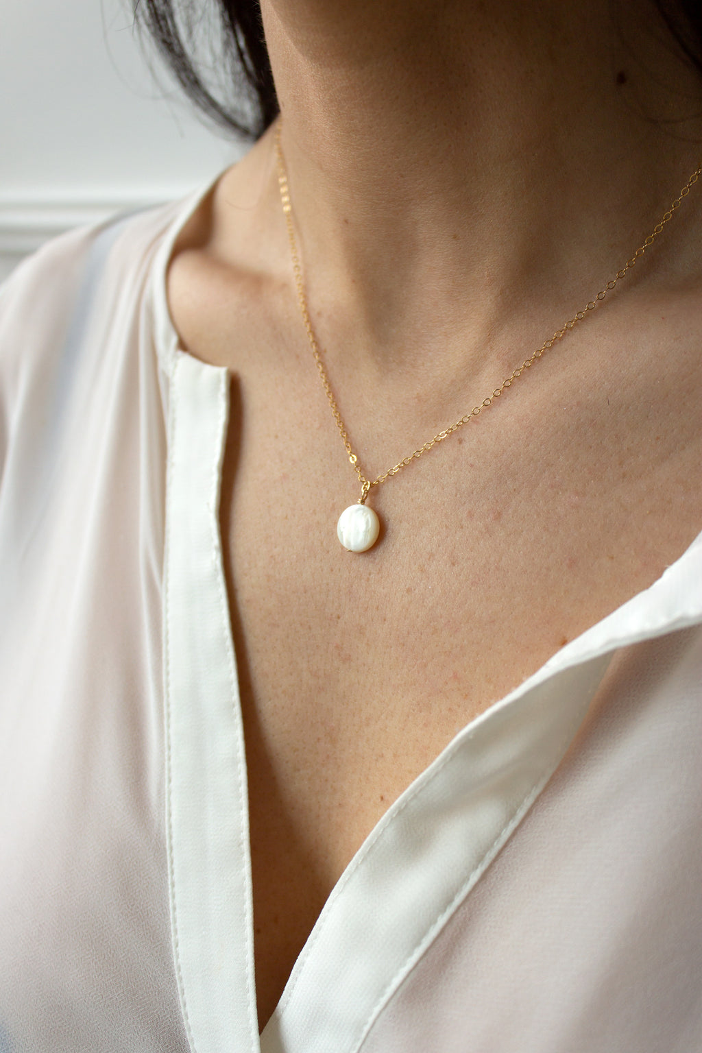Petite Mother of Pearl Coin Necklace - Christine Elizabeth Jewelry