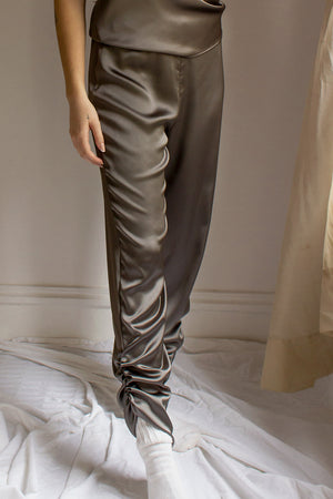 satin joggers with ruched detail