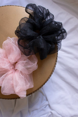 Large Organza Scrunchie - black