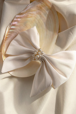 Bridal Headpiece Bow made from Silk and Freshwater Pearls