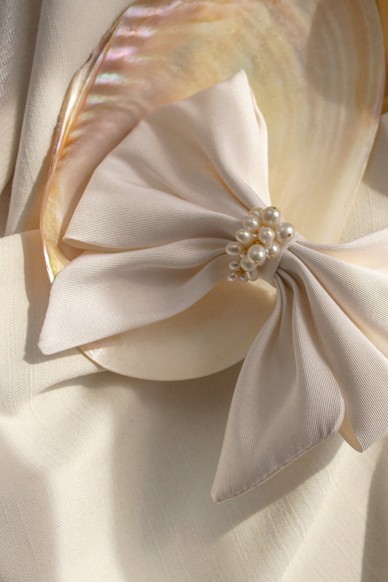 Large Silk Bridal Hair Bow Barrette with Pearls