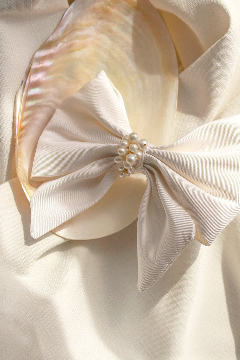ivory silk and pearl hair bow barrette