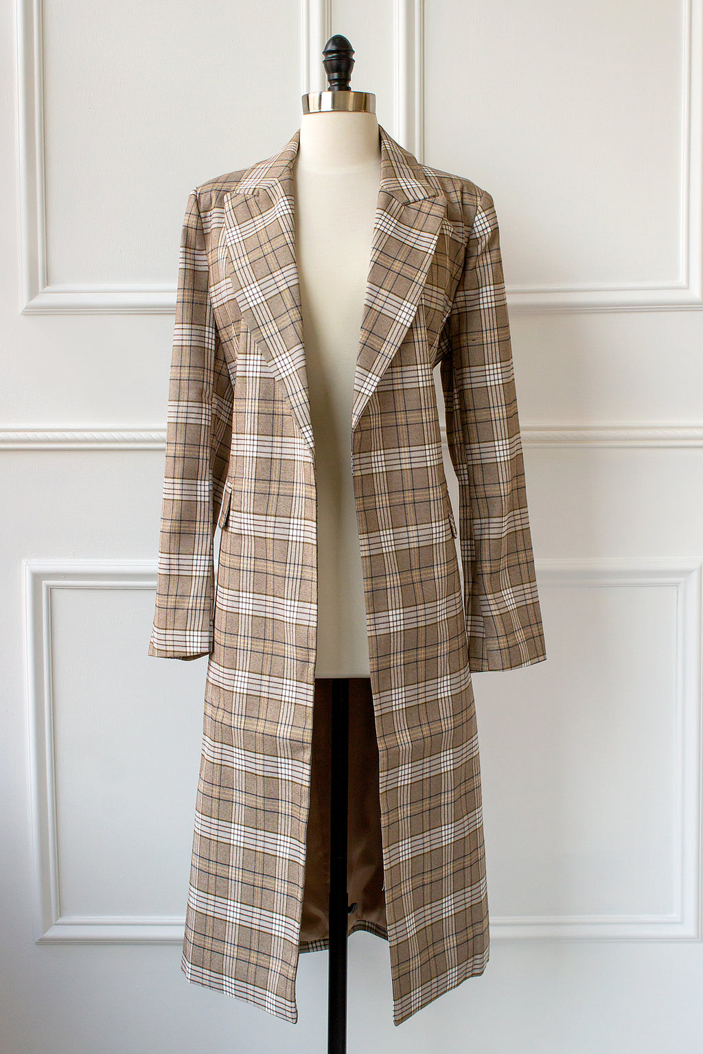 long plaid jacket for spring or fall