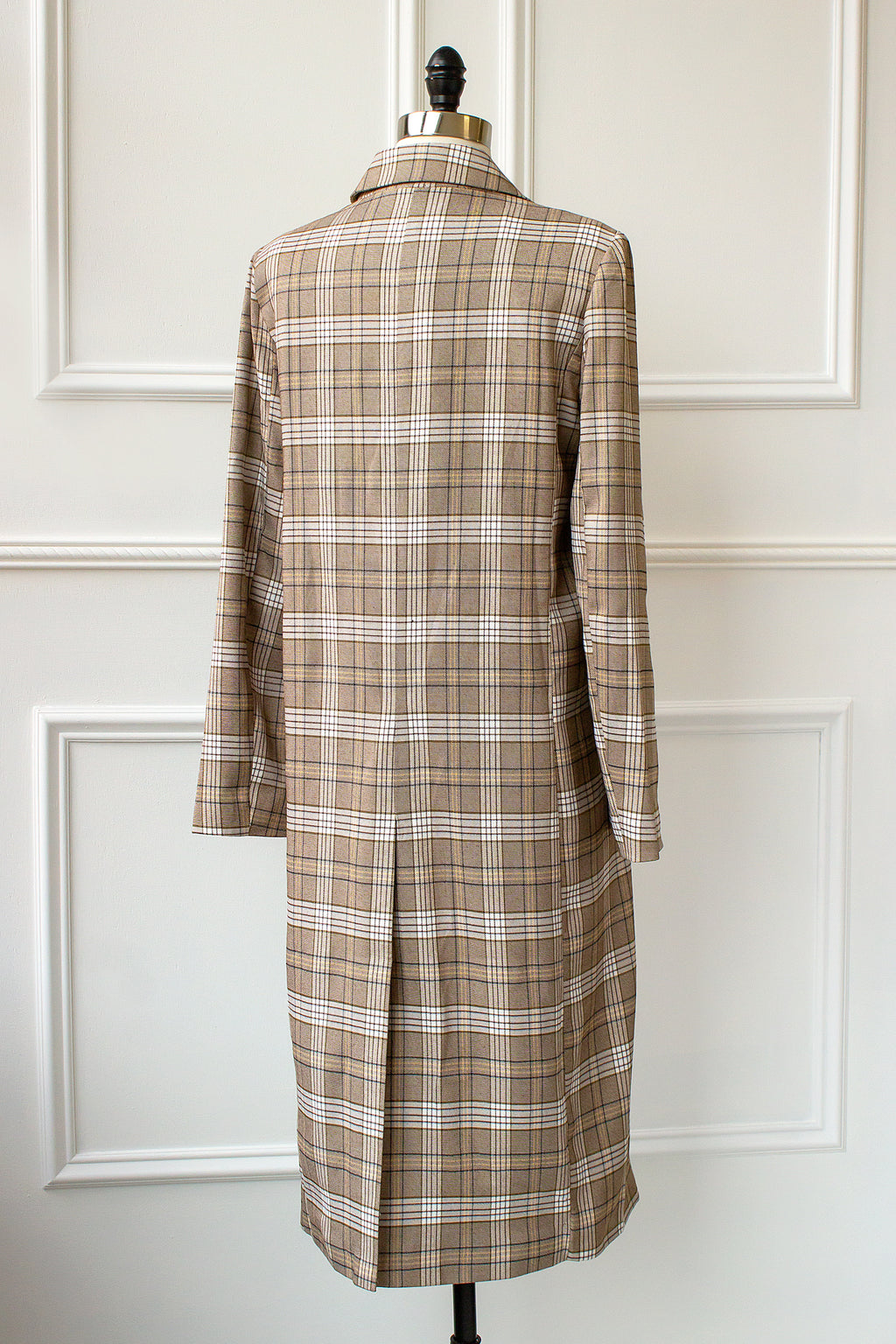 plaid maxi trench coat in brown, yellow, cream and blue