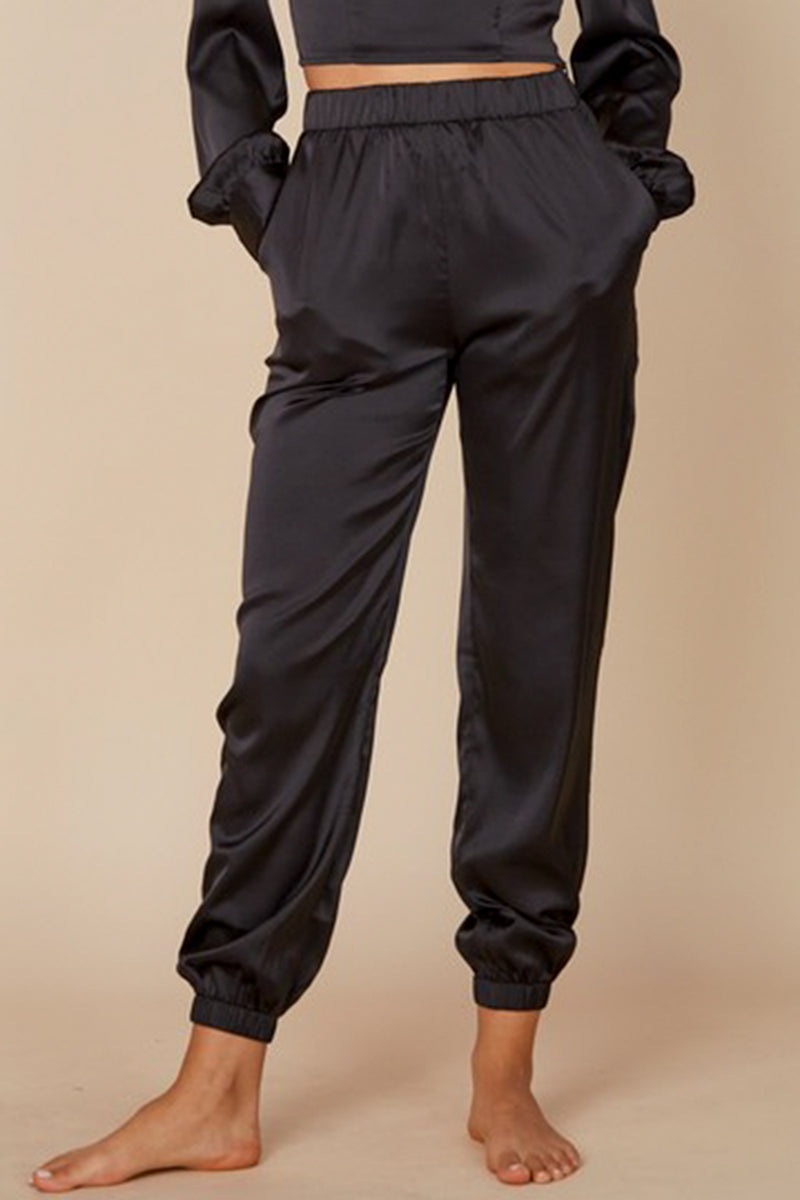 Minka Satin Jogger Pants - black