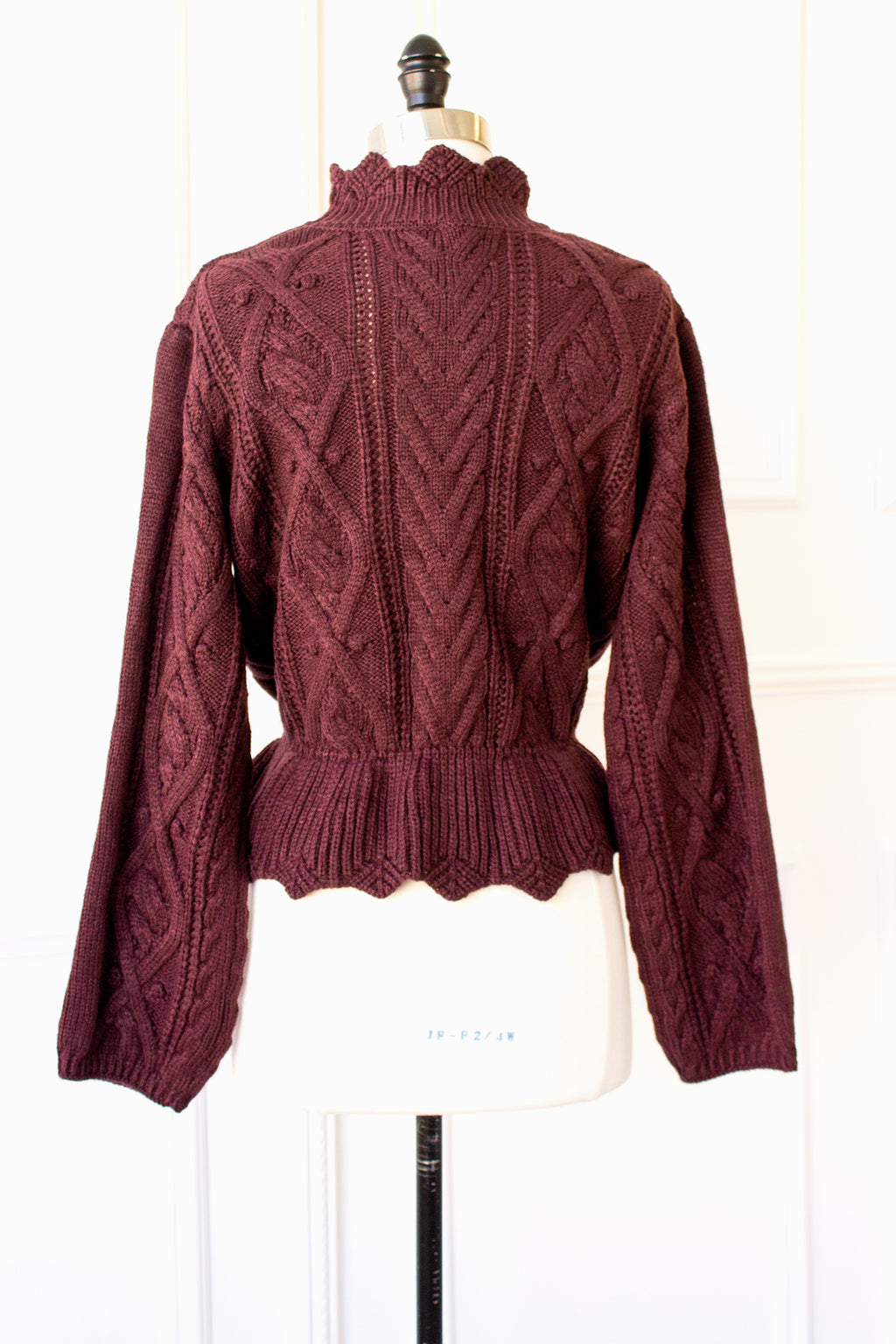 Farrah Scalloped Mock Neck Sweater - plum