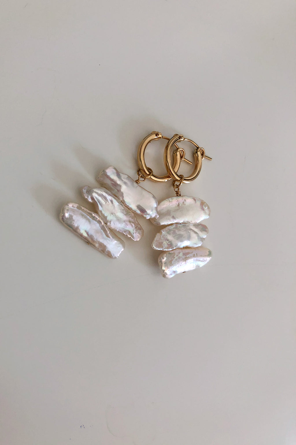 Sideways Biwa Mini Hoop Earrings - Christine Elizabeth Jewelry