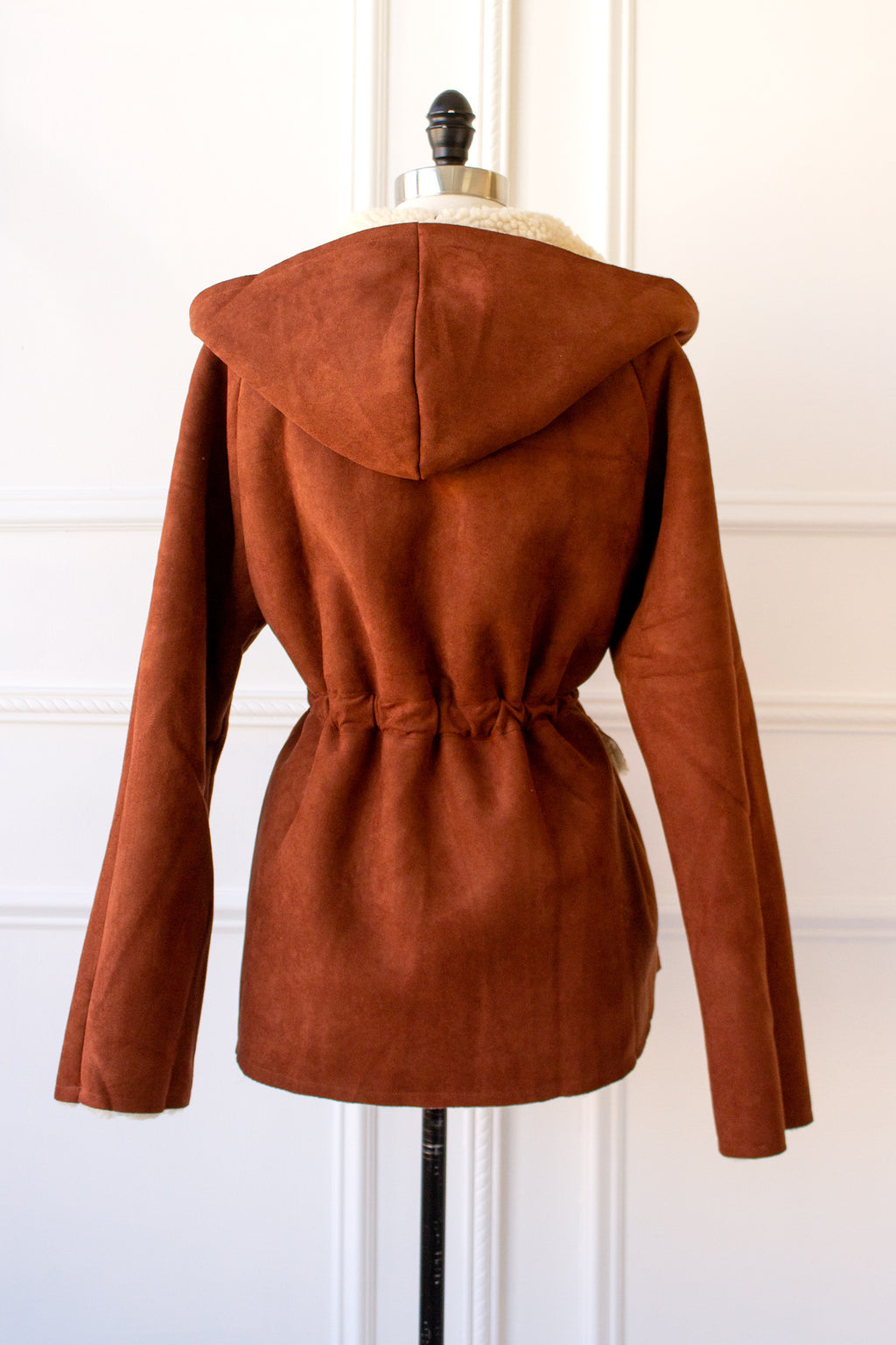 Hooded Jacket in rust faux suede and lined in sherpa