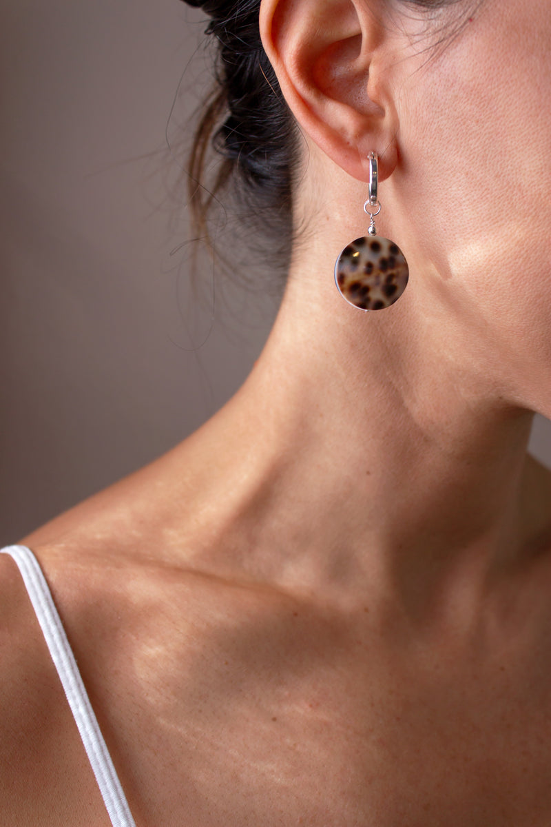 Tortoise Shell Mini Hoop Earrings - Christine Elizabeth Jewelry