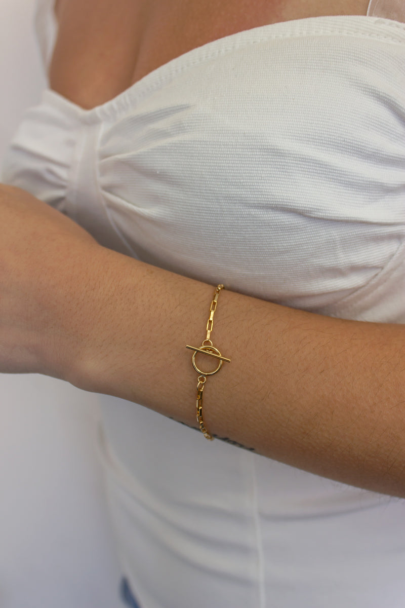Chain Bracelet with Toggle Clasp in 14k Gold Filled or Sterling Silver