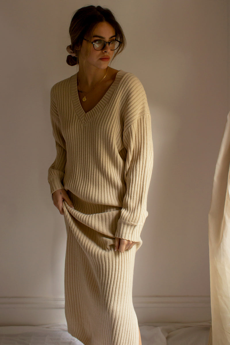 ribbed knit maxi sweater dress