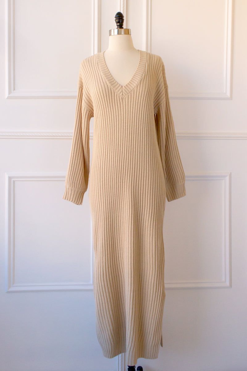 long sleeved sweater dress with v-neck