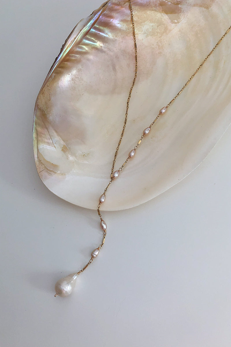 asymmetrical pearl necklace in 14k gold filled or sterling silver