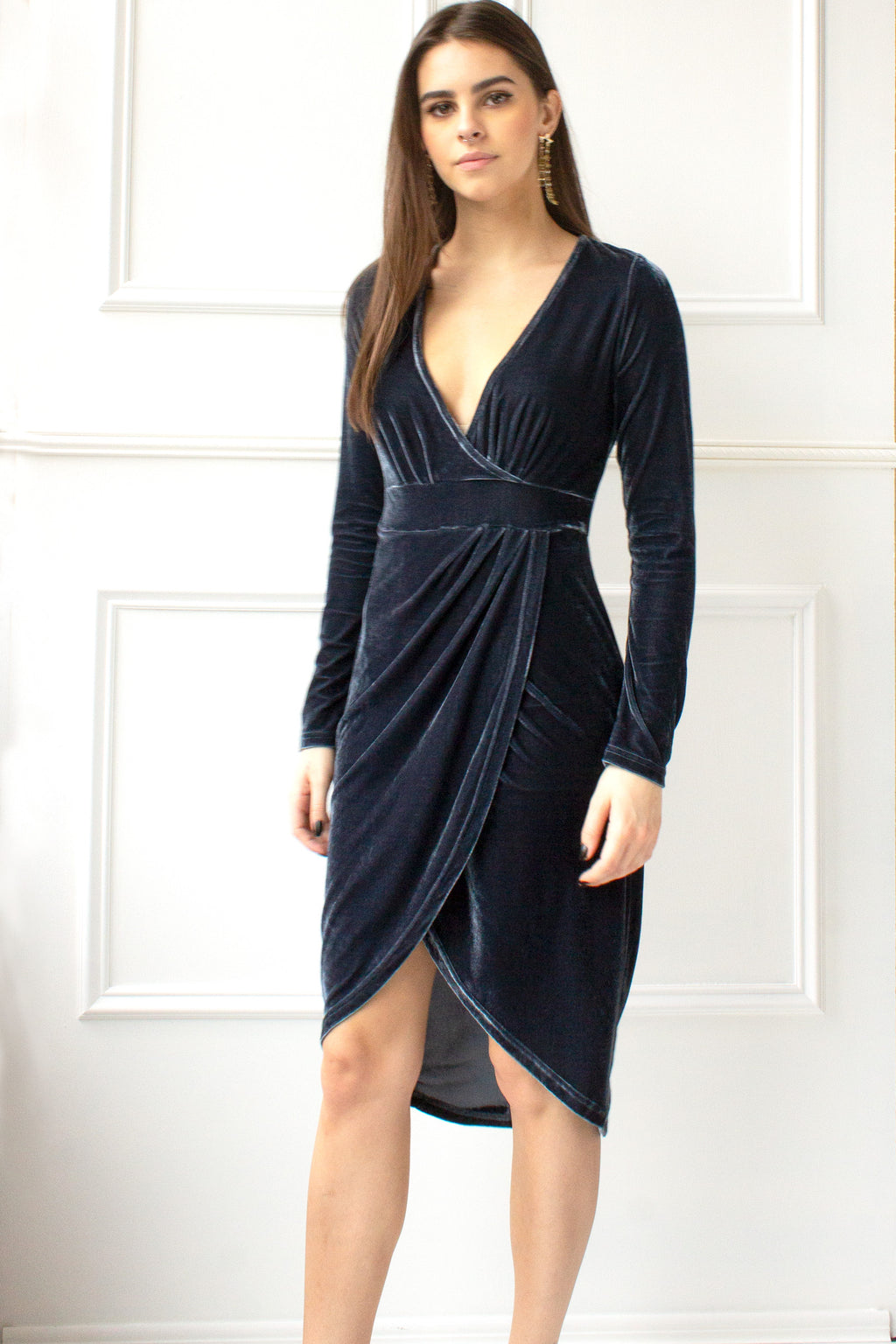 velvet dress with high low hem for holiday parties