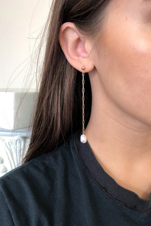 dainty pearl earrings with chain