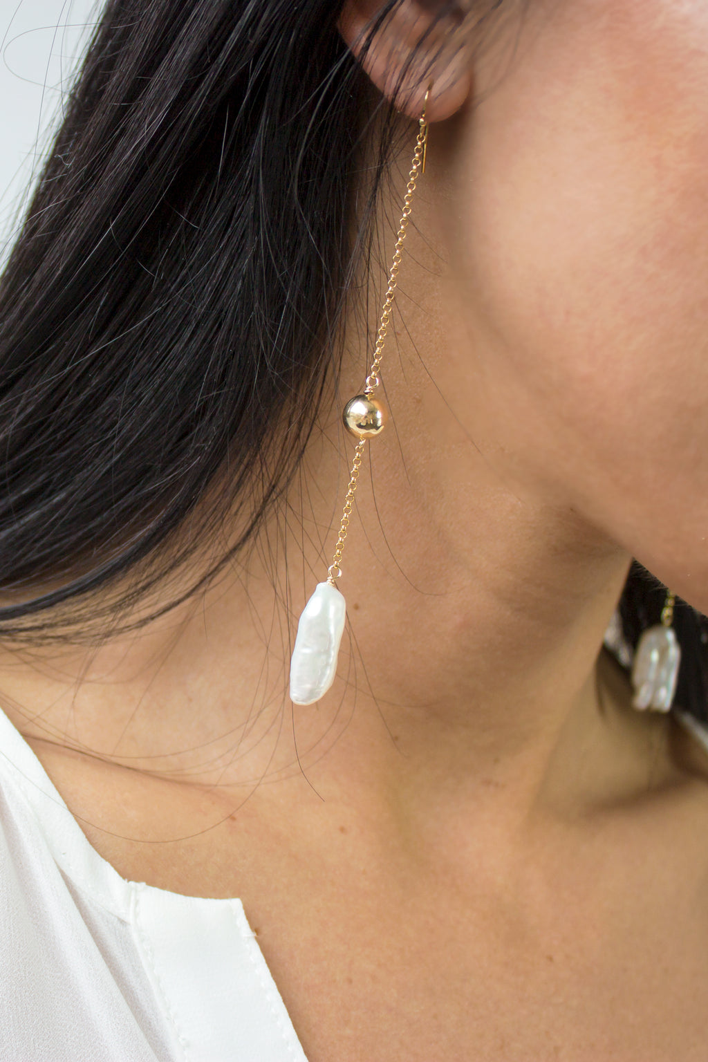minimal pearl earrings
