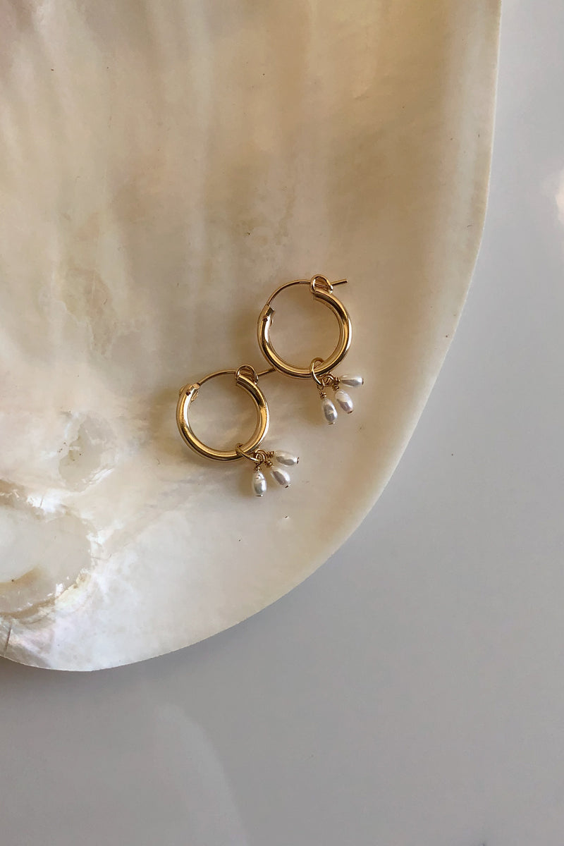 Petite Freshwater Pearl Droplets Mini Hoop Earrings - Christine Elizabeth Jewelry