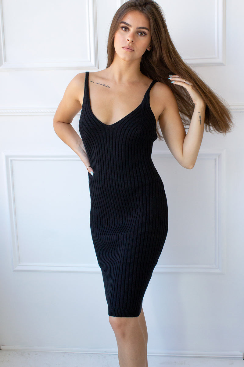 Gabriele Ribbed Knit Dress - black