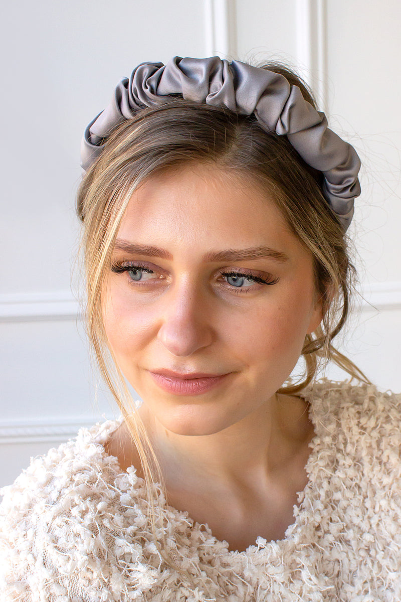 Silk Scrunch Ruffle Headband - grey