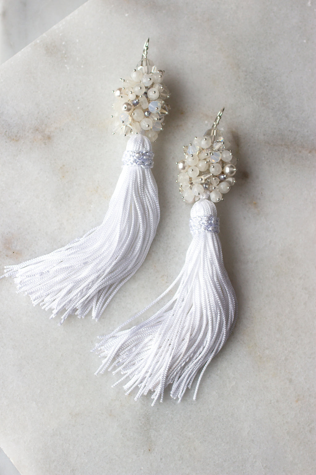 Luxe Tassel Earrings in Moonlight - Christine Elizabeth Jewelry