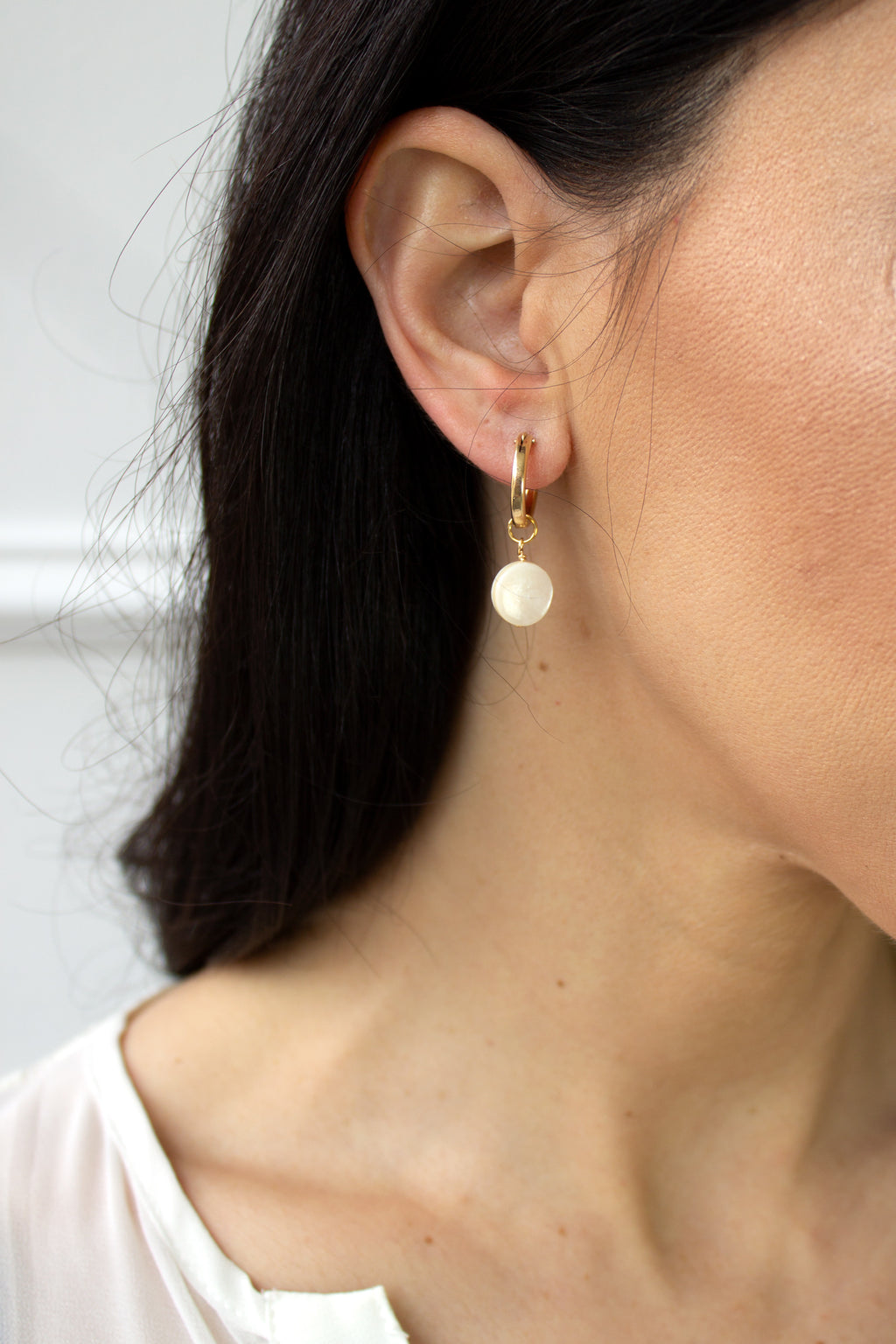Mini Hoop Earrings - Mother of Pearl - Christine Elizabeth Jewelry