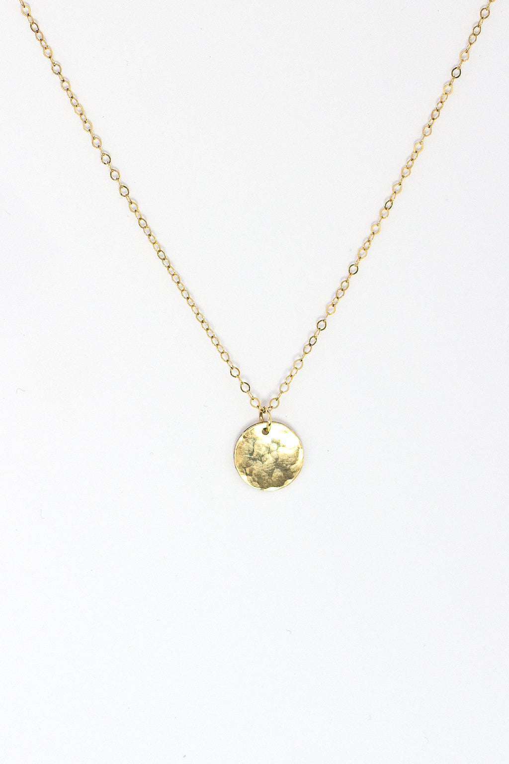 Petite Hammered Disc Necklace - Christine Elizabeth Jewelry
