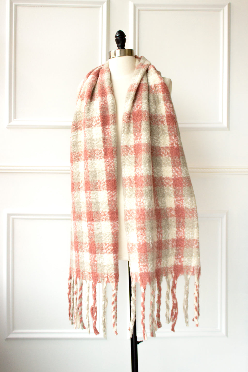 Check Plaid Scarf with Fringe - pink