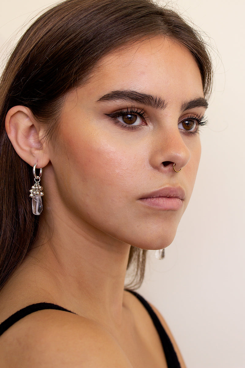 Polished Quartz Mismatched Mini Hoop Earrings - Christine Elizabeth Jewelry