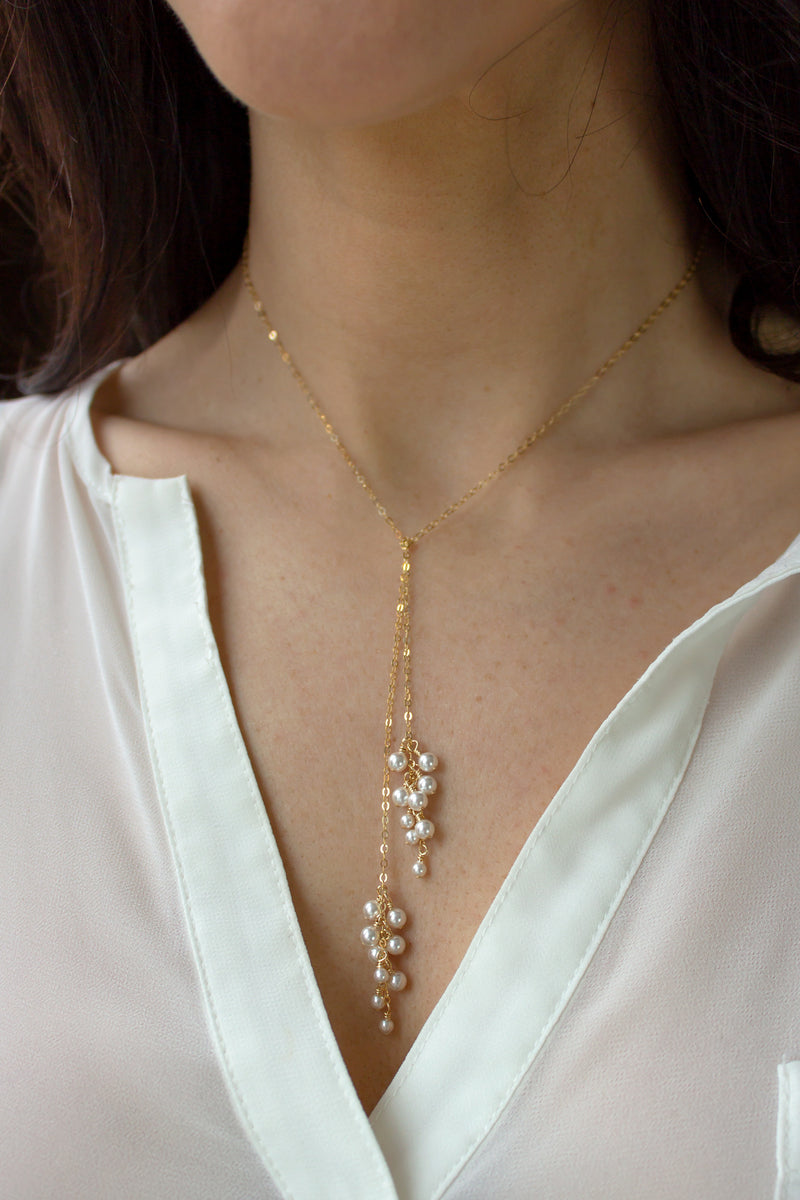 Dainty Pearl Cluster Tie Necklace - Christine Elizabeth Jewelry